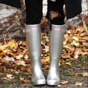 Hunter Silver Tall Rain Boots